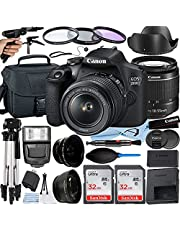 Canon EOS 2000D (Rebel T7) DSLR Camera 24.1MP with EF-S 18-55mm Lens + 2 Pack SanDisk 32GB Memory Card + Flash Lighting + Case + A-Cell Accessory Bundle