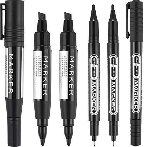 - 6 Pieces Permanent Markers, Different Sizes Double-Ended Permanent Marker Pen, Ultra Fine Tip, Fine Tip and Chisel Tip (Black)