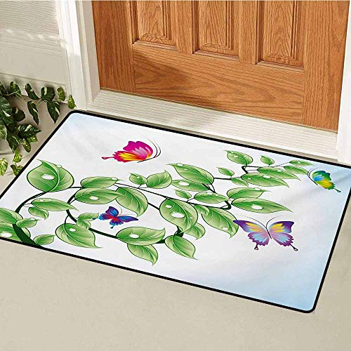 (GUUVOR Nature Universal Door mat Floral Theme Branch with Leaves Butterflies and Drops of Water Pattern Door mat Floor Decoration W29.5 x L39.4 Inch Fern Green Pale Blue )