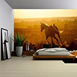 wall26 - Arabian Horse on Sunset - Removable Wall Mural | Self-adhesive Large Wallpaper - 100x144 inches