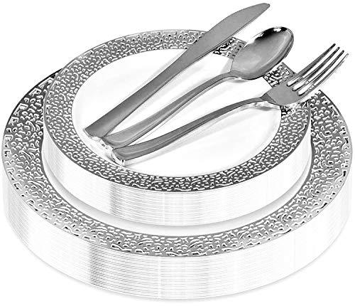 Silver Lace Plastic Dinnerware (125-Piece) Plastic Plates, Plastic Forks, Plastic Knives, Plastic Spoons – Service for…