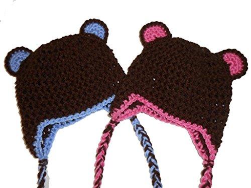 Sweet Lullabiez Twin Set Handmade Brown  Pink and Brown  Blue Bear Beanies / Hats Size Newborn
