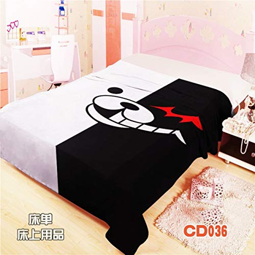 - MXDFAFA Japanese Anime Danganronpa White and Black Bed Sheet Throw Blanket Bedding Coverlet Crushed Velour Bedsheets Cosplay Fan Gifts