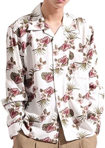 総柄 プリント オープンカラー シャツ レーヨン 長袖 開襟 ビッグ ワイド ストリート メンズ