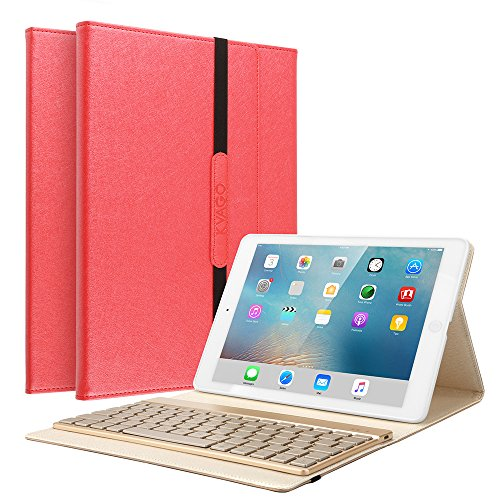 iPad Air Keyboard Cover, KVAGO Slim-Fit Protective Folio Case Smart Cover with Detachable 7 Colors Backlit Wireless Bluetooth Keyboard Keypad for Apple iPad Air 1st Gen (Red) by KVAGO