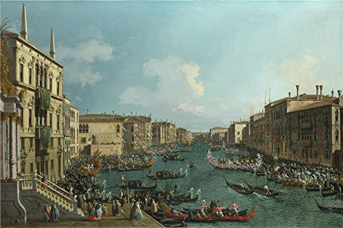 Oil Painting 'Canaletto A Regatta On The Grand Canal ' Printing On Polyster Canvas , 30 X 45 Inch / 76 X 114 Cm ,the Best Wall Art Gallery Art And Home Gallery Art And Gifts Is This Imitations Art DecorativeCanvas Prints Canal Tropical Rug