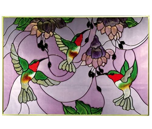 Ruby Hummingbirds Art Glass Panel Wall Window Hanging
