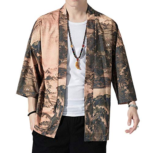 JOSCA 썸머 가디건 맨즈 일본식 파커 일본풍 하오리 개금 셔츠 학병프린트 캐주얼 박수 넉넉하게 코트 큰 사이즈