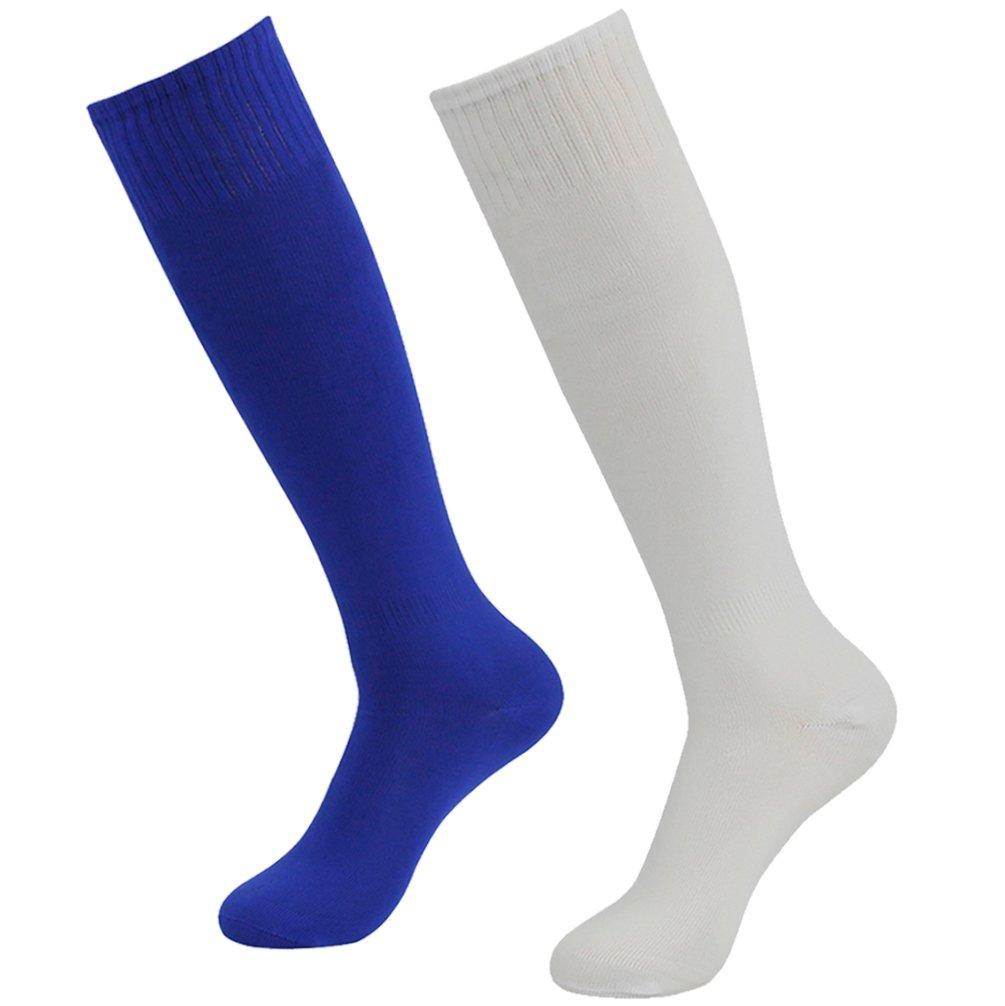 getsporユニセックスサッカーソックスチームスポーツロングチューブソックスKnee High 2 /4 /6 /12ペア B077JJY3HB White and Blue 2 Pairs White and Blue 2 Pairs
