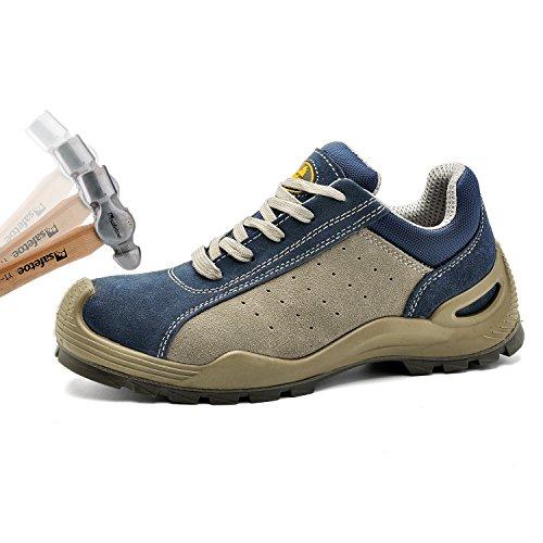 Scarpe Di Sicurezza Safetoe Stivali Da Lavoro Larghi L7295 Scarpe Da Lavoro In Pelle E Acciaio Per Uomo E Donna Blu