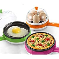 Piesome 2 in 1 Multifuctional Steaming Device Egg pan Frying Egg Boiling Roasting Heating Electric Mini Egg Boiler Poacher & Steamer Electric Automatic (Multi Color)