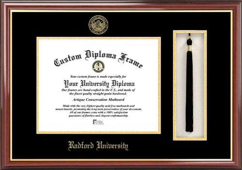 Radford University Highlanders - Embossed Seal - Tassel Box - Mahogany - Diploma - University Radford Diploma Frame