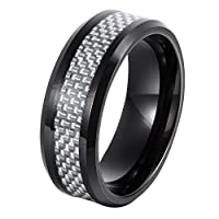 Will Queen 8mm Beveled Men's Tungsten Wedding Band Silver White Carbon Fiber Inlay Top Polished Finish