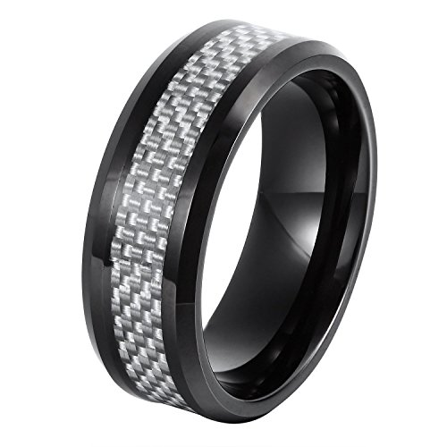 Will Queen [8mm Beveled Men's Tungsten Wedding Band Silver White Carbon Fiber Inlay Top Polished Finish by Will...