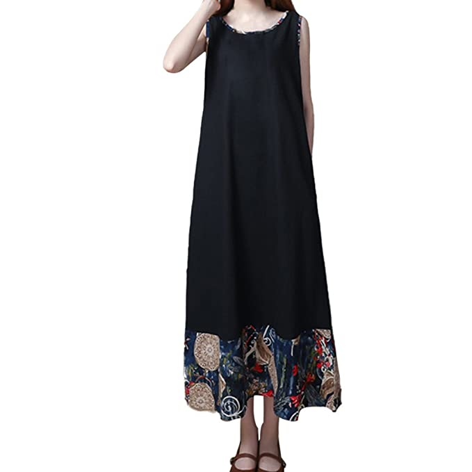 1d6213c66829 Womens Vintage Sleeveless Maxi Dress Plus Size Summer A-Line Floral Printed  Hem Sundress Casual Loose Boho Cotton Linen Long Beach Dresses  Amazon.co.uk   ...