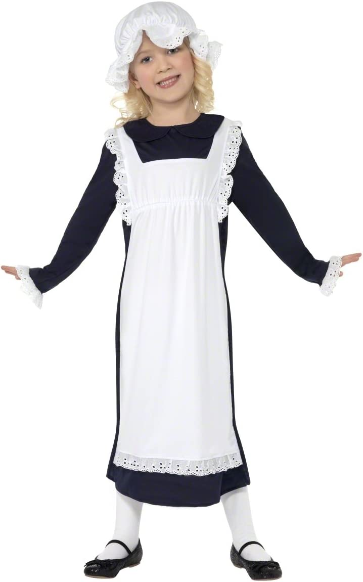 Victorian Kids Costumes & Shoes- Girls, Boys, Baby, Toddler Smiffys Victorian Poor Girl Costume White with Dress Apron & Hat Large £8.28 AT vintagedancer.com
