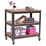 Wooden Metal Rolling Storage Shelf Unit 3 Tiers Design Bookcase Bookshelf Rack Multipurpose Multifunction Utility Cart Home Living Room Kitchen Book Vases Ornaments Potted Plants Display Organizer