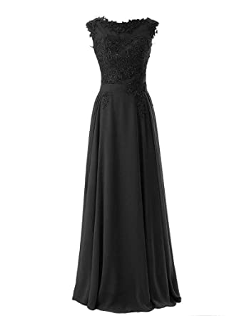 Blevla Elegant Cap Sleeves Lace Chiffon Bridesmaid Dresses Evening Prom Gown Black US 2