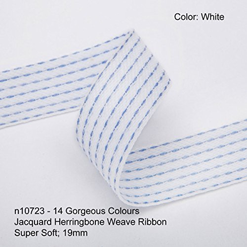White Jacquard Trim Ribbon (Neotrims 19mm Herringbone Jacquard Lines Pattern Twill Tape Ribbon Trim,14 Colours, White)