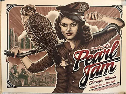 Pearl Jam wrigley field poster chicago 2018 tour paul jackson art new ()