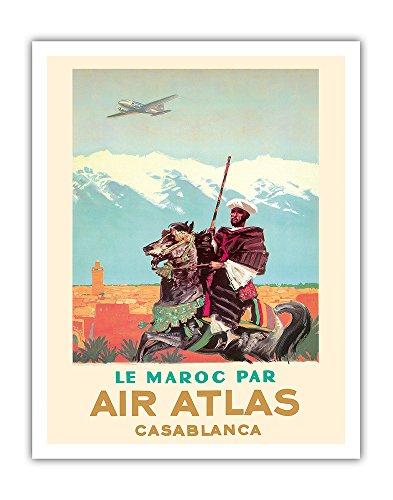 Casablanca  Morocco   By  Le Maroc Par  Air Atlas   Vintage Airline Travel Poster By Albert Brenet C 1950   Fine Art Print   11In X 14In
