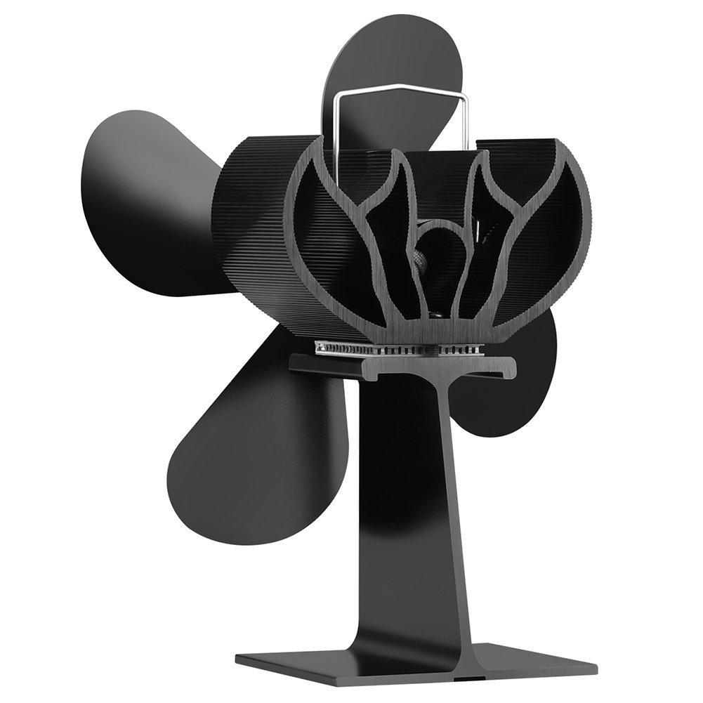 JOYOOO Ventilador de 4 palas para estufa de leña o chimenea,ecológica Ventilador de estufa calor con madera registro carbón estufa quemador funcionamiento ...