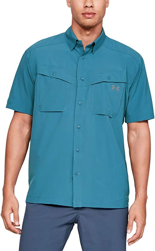 Under Armour UA Tide Chaser Solid Short Sleeve Coded Pale Blue Button Up Shirt