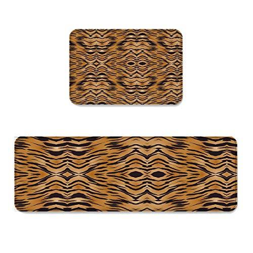 (2 Piece Non-Slip Kitchen Mat Runner Rug Set Doormat Indian Tribe Tiger Print Door Mats Rubber Backing Carpet Indoor Floor Mat (23.6