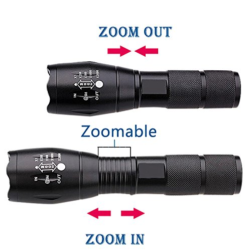 Blanco T6: Linterna LED 18650 Zoom Linterna 5 Impermeable XM-L L2 / T6 3800LM 5 Linterna Modo Led Luz Zoomable para 3X AAA o 3.7v Batería 34cdb5