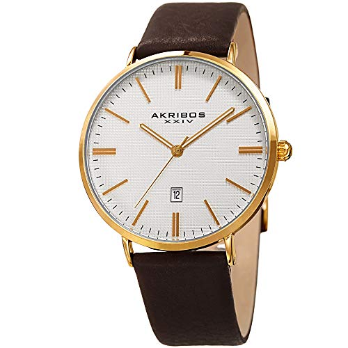 Akribos XXIV Men's Slim Classic Watch AK935 Series - Pattern Etched Dial with a Comfortable Supple Genuine Leather Strap ()