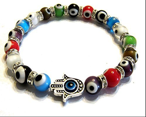 Turkish Murano Evil Eye Bracelet With Blessing Hamsa Hand Stretch
