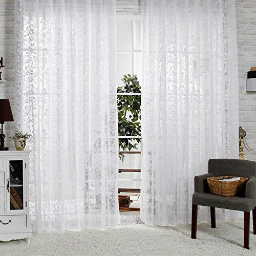 R.LANG Halbtransparent Vorhänge mit Kräuselband Oben Vorhang Weiß