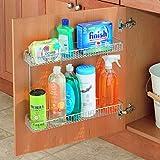 InterDesign Classico 2-Tier Shelf Under Sink Organizer for Kitchen or Bathroom - Wide, Chrome