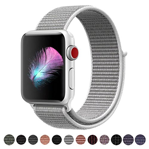 Yunsea For Apple Watch Band, New Nylon Sport Loop, with Hook and Loop Fastener, Adjustable Closure Wrist Strap, Replacment Band for iwatch, 42mm, Seashell