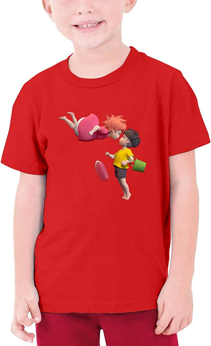 LOUHART Customized Ponyo On The Cliff 3D Funny T Shirts Short Sleeve for Youngster Black