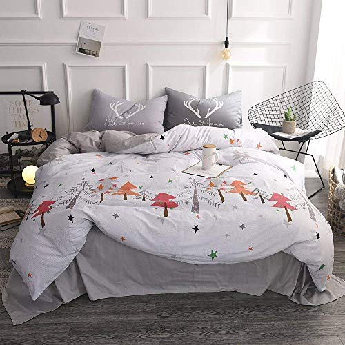 EnjoyBridal Twin Duvet Cover Sets Kids White Cotton Christmas Tree Bedding Cover Sets Teens Boys Girls Comforter Cover with Zipper 2 Pillow Shams Soft Comfortable 4 Corners Ties (Twin, White)
