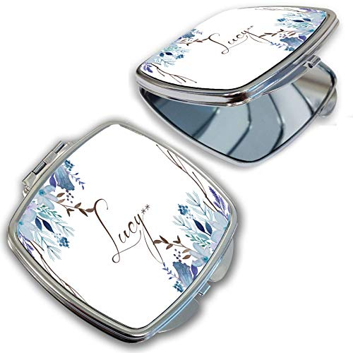 - BRGiftShop Personalized Custom Name Beautiful Watercolor Hand Paint Painted Blue Purple Flowers Compact Pocket Cosmetic Mirror