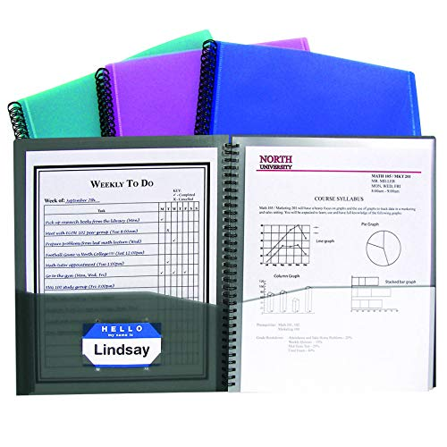 C-Line Products, Inc. CLI33080BN 8-Pocket Spiral-Bound Poly Portfolio, Assorted, Pack of 6