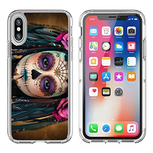 Luxlady Apple iPhone X Clear case Soft TPU Rubber Silicone Bumper Snap Cases iPhoneX IMAGE ID: 44522015 3d computer graphics of a young woman with sugar skull makeup
