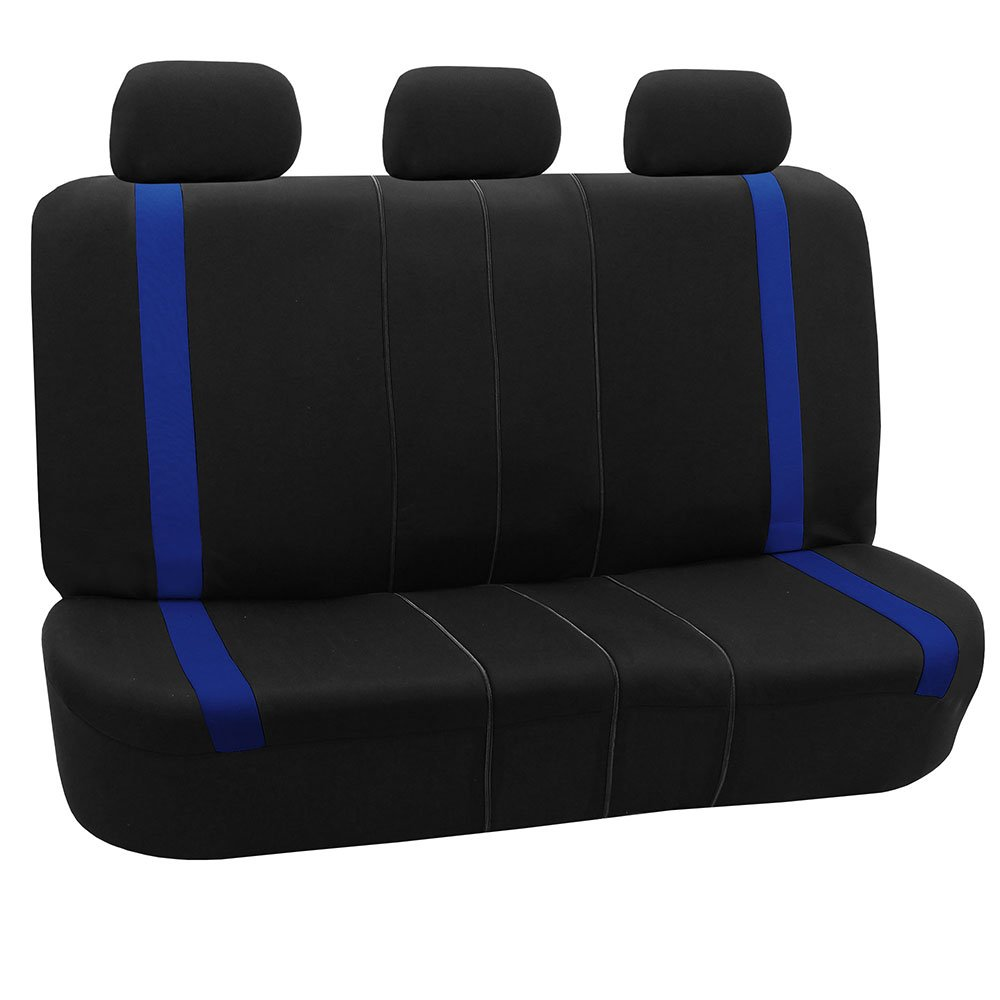 FH Group FH-FB054013 Blue Cosmopolitan Flat Cloth Seat Covers, Airbag Compatible and Split Bench, Blue/Black Color-Fit Most Car, Truck, SUV, or Van by FH Group