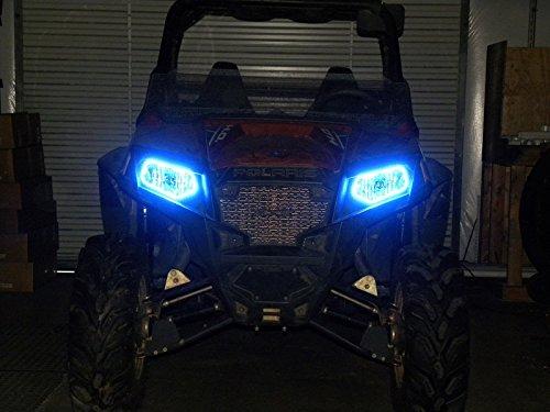 LEDヘッドライトHaloリングfor – ポラリスRZR 800、900 x pと570 – ブルー B0762DDFD2