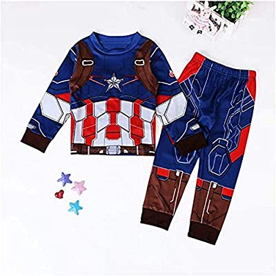 2 Piece Marvel Superhero Adventures Toddler Baby Girls Captain America Costume Pajamas Set for Boys: Clothing