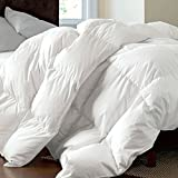 Luxurious White Goose Down Feather Comforter Duvet Quilt Insert Hypoallergenic 650 Fill Power,100% Organic Downproof Shell,Medium Warmth,King Size(106x90inch)