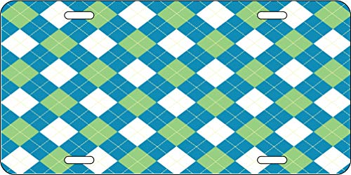 Blue Green And White Argyle Pattern Aluminum License Plate for Car Truck Vehicles ()