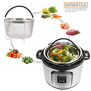 Steamer Basket for Instant Pot Accessories 6 and 8 Quart, Stainless Steal Mesh Steamer Insert with Black Silicone Handle, Must have kitchen accessories for Steaming Vegetable, Fruit and Eggs.