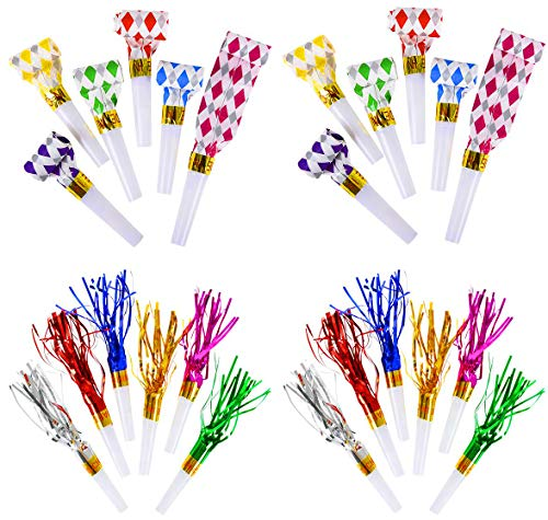 Blowout Noisemakers And Fringed Noisemakers Toys Bulk Pack of 288, New Years Party Noisemaker, Musical Whistles, Assorted Colors, 144 Fringed Party Horns 7'', 144 BlowOuts 11'' Party Favors, By 4E's Novelty