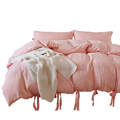 Omelas 3pcs Ultra-Soft Washed Cotton Duvet Cover Queen Size Modern Simple Solid Colored Natural Wrinkle Bedding Set with Bowknot Tie Design (Blush Pink, Queen/Full (Queen Pink Ribbon)