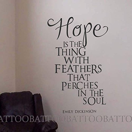 (BATTOO Hope is The Thing with Feathers That perches in The Soul. - Emily Dickinson Wall Decal Quotes Vinyl Wall Art Sticker(Black, 54