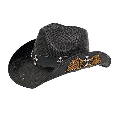 Peter Grimm New Black Wings Drifter Cowboy Western Hat Paper Straw