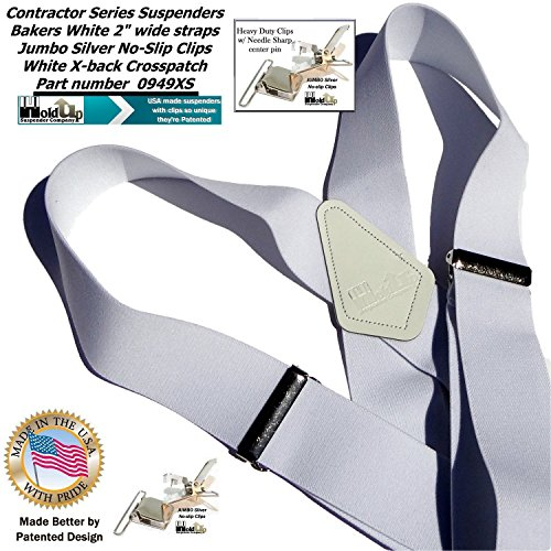 Contractor Series 2'' Wide Work X-back Suspenders in Bakers White with jumbo No-Slip Patented Clips by Hold-Up Suspender Co. (Image #9)